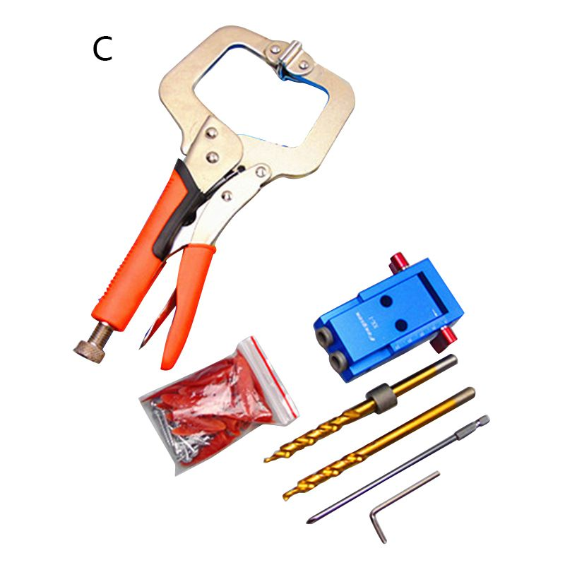 Mini Style Pocket Hole Jig Kit System For Wood Working & Joinery + Step Drill Bit & Accessories Wood Work Tool Set P20