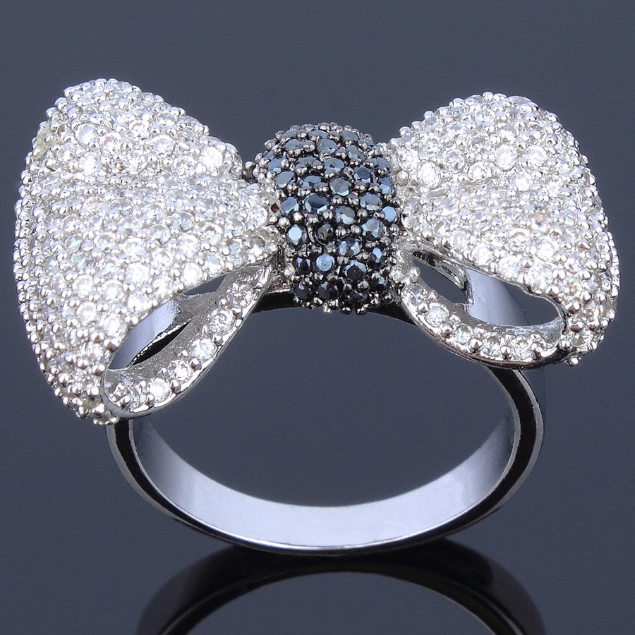New arrivals pretty Rings for women cubic zircon setting finger Ring butterfly design fashion jewelry Free shipment full size