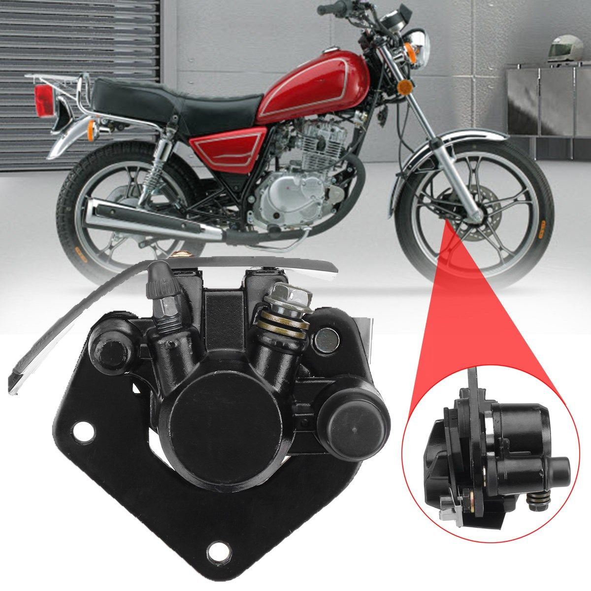 For Suzuki GN125 GS125 Front Brake Caliper Black + Brake Pads Motorcycle Accessories Parts High Quality
