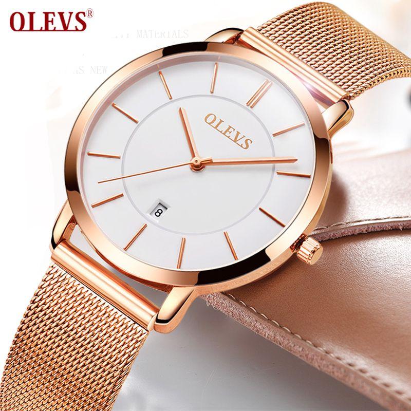 Женские часы olevs бренд класса люкс кварц женские наручные часы Нержавеющаясталь браслет ультра тонкие часы золотой Для женщин Relojes Mujer 2017