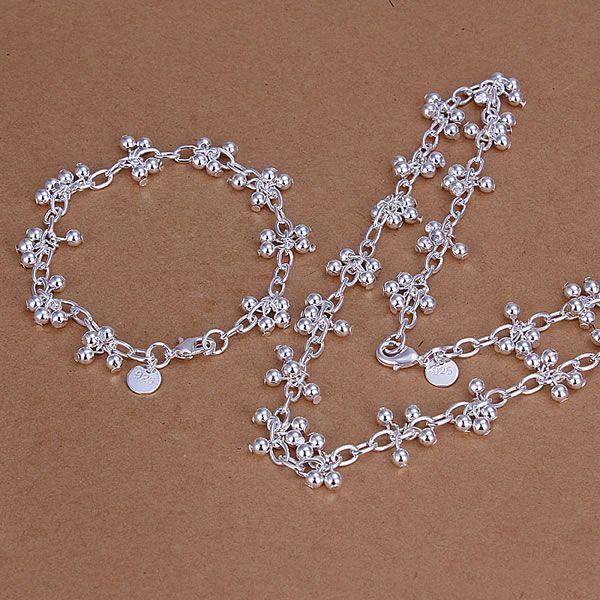S212 Großhandel, freies verschiffen 925 silber schmuck-set, modeschmuck gesetzt Glatte Grape Kugel Armband Halskette Schmuck-Set
