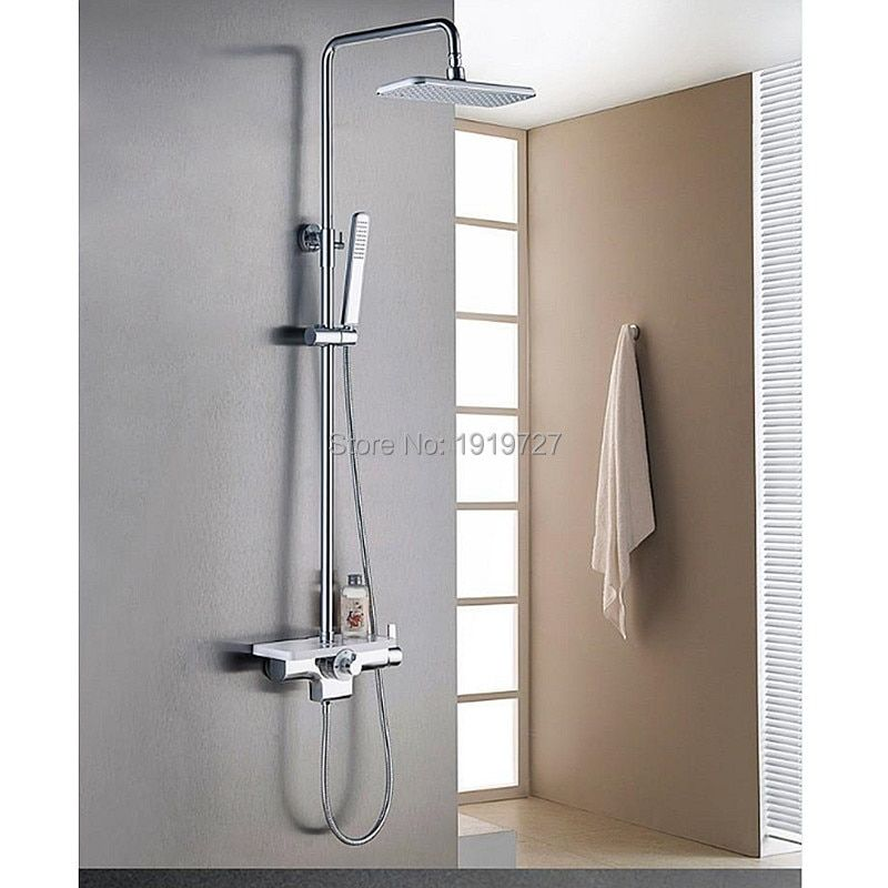 New Arrival Factory Direct High Quality Luxurious Solid Brass White & Chrome Wall Mounted Bathroom Shower Faucet Set