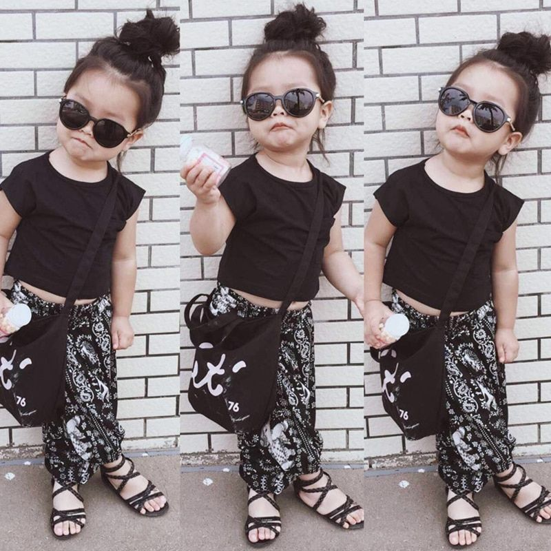 Bear Leader Girls Clothing Sets 2018 New Brand Summer Kids Clothes Black Clothes+Elephant Pattern Pants 2Pcs Girls Sets For 2-6Y