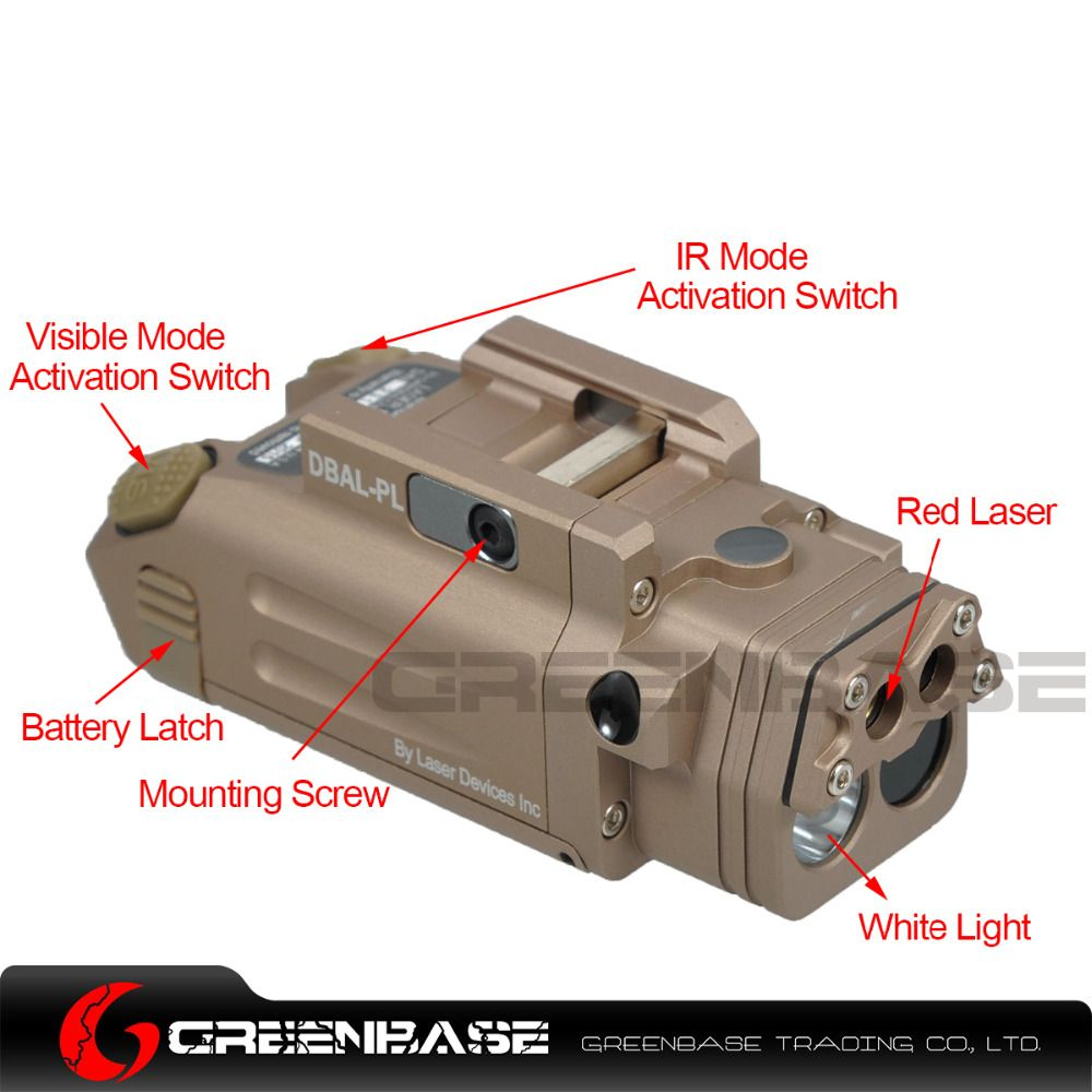 Greenbase DBAL-PL Tactical IR Laser/IR Light/Strobe/Red laser 400 Lumens LED Flashlight For Tactical Rifles Hunting Weaponlight