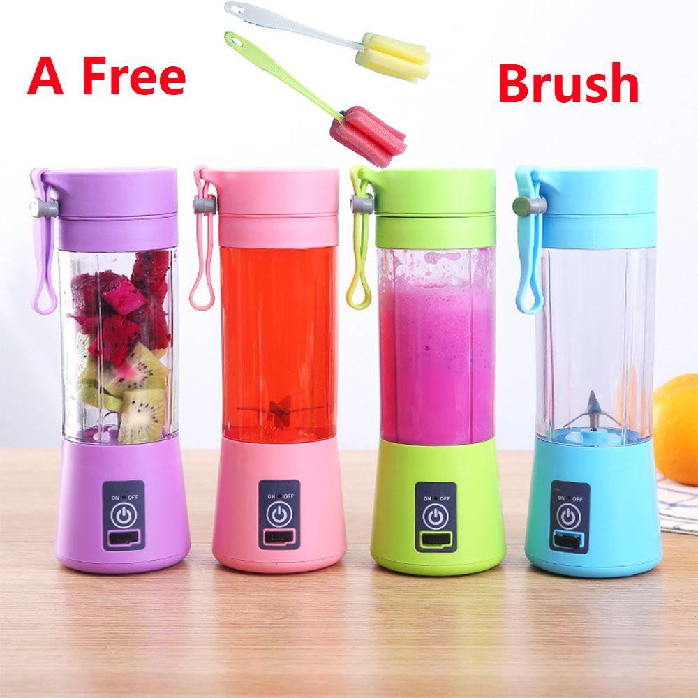 Brosse gratuite 4/6 lames électrique fruits presse-agrumes USB Rechargeable Smoothie Maker mélangeur Machine 380ml Sport mélangeur bouteille jus tasse