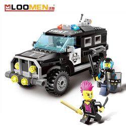 185 pcs SWAT Legoings Merek Mobil Anak Enlighten Konstruksi Batu Bata DIY Blok Bangunan Mainan Hadiah Ulang Tahun