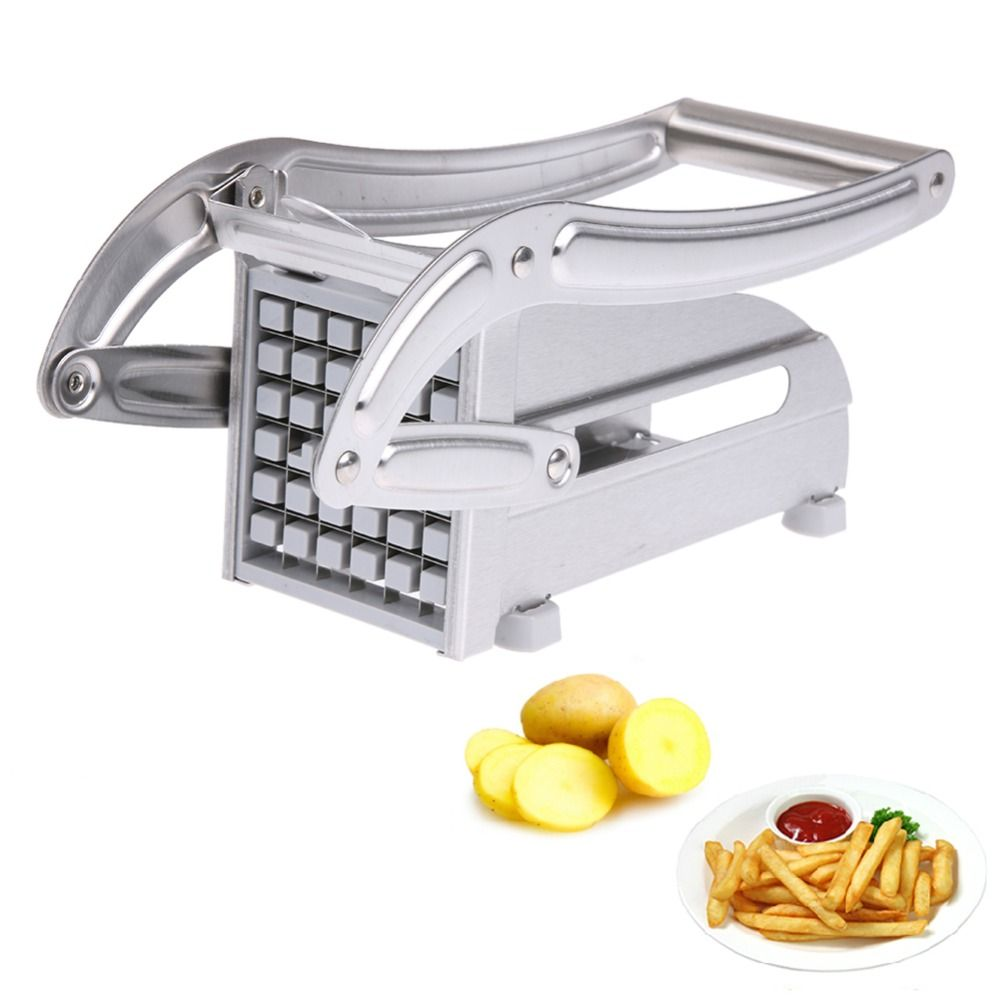 Stainless Steel Home French Fries Potato Chips Strip Cutting Cutter Machine Maker Slicer Chopper Dicer + 2 Blades PTSP