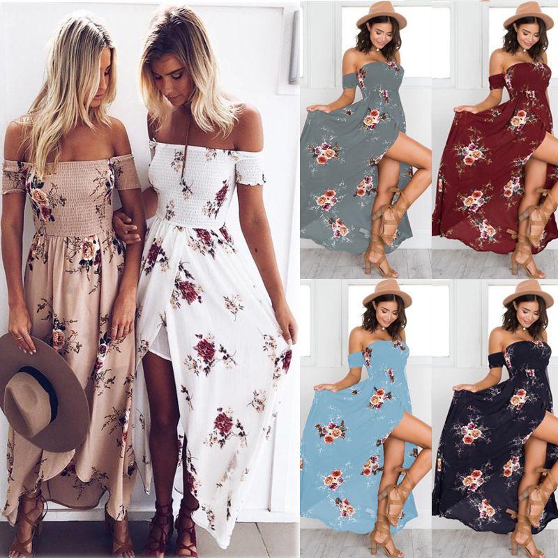 Lossky 2018 nouvelles femmes Sexy côté fendu robe d'été hors épaule Vintage imprimé Maxi robe femmes plage robe Vestidos