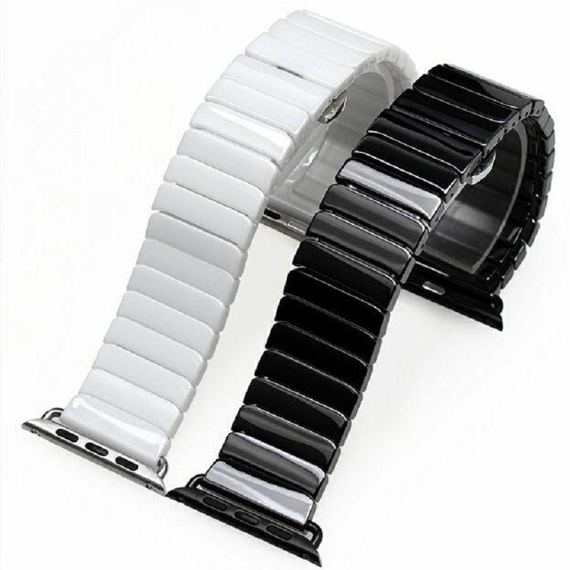 Haute Qualité En Céramique Bracelet D'origine Lien Bracelet Sangle + Connecteur adaptateur Pour Apple Montre Iwatch 38mm 42mm Série 1 2 3