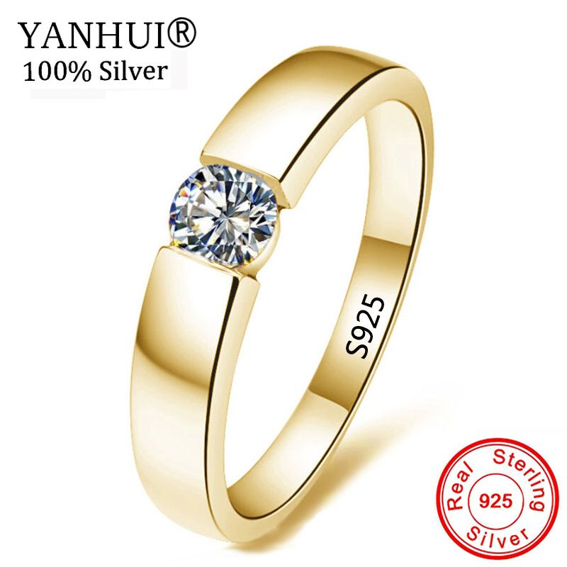 YANHUI 100% Pure 925 Silver Gold Rings Solitaire CZ Engagement Wedding Rings For Women and Men Size 5 6 7 8 9 10 11 12 13 MKR10