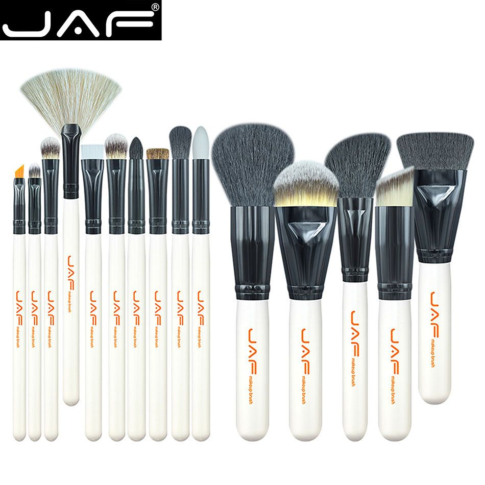 JAF Brand 15 PCS Makeup Brush Set Professional Make Up Beauty Blush Foundation Contour Powder Cosmetics Brush Makeup J1501M-W