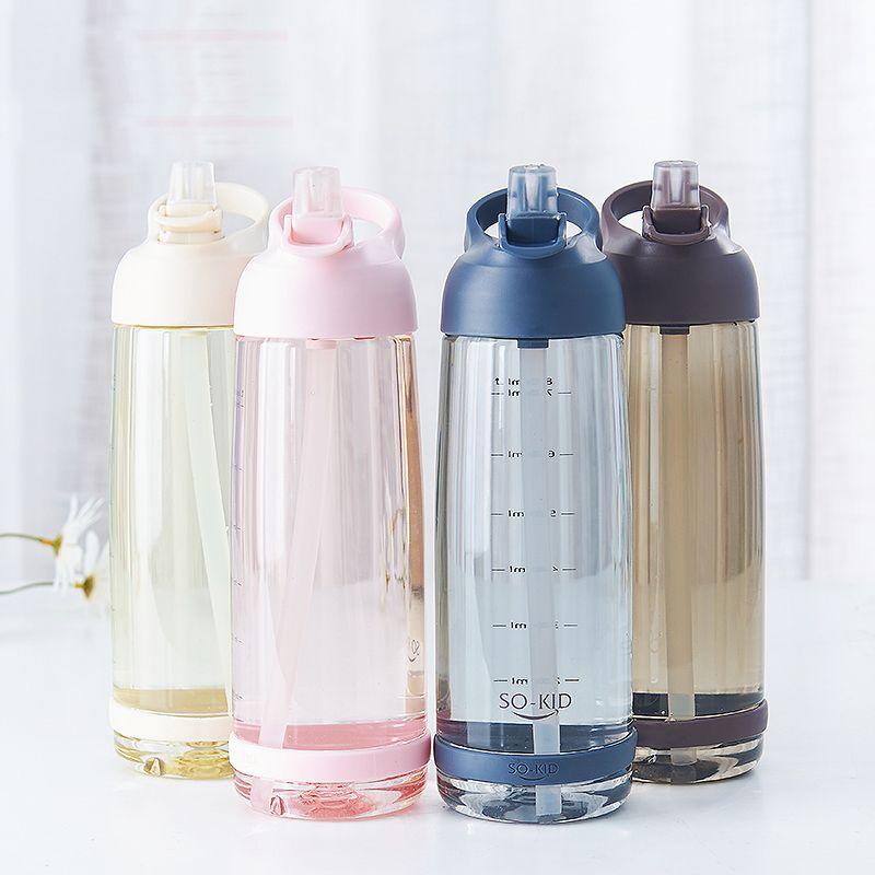 Bouteille d'eau extérieure 1000 ml avec bouteilles de sport en paille écologique avec couvercle randonnée Camping plastique sans BPA H1098
