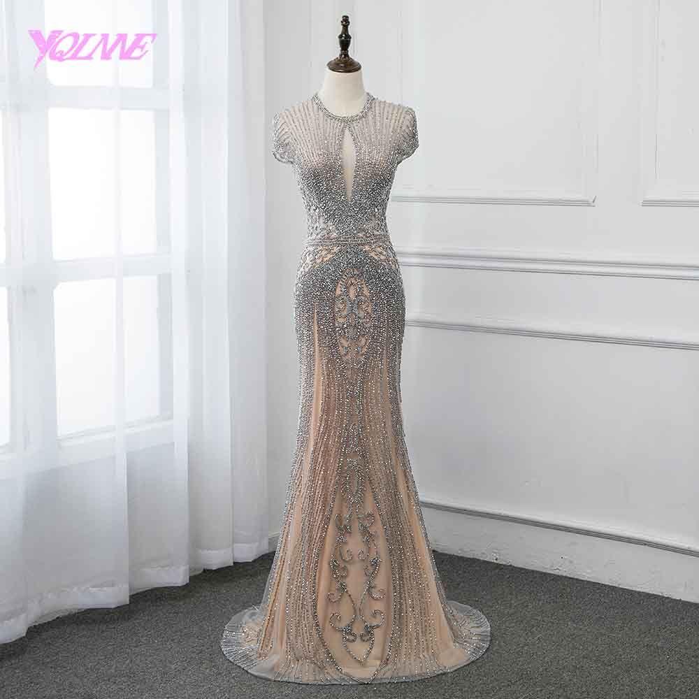 Neue Kollektion 2019 Glitter Silber Strass Lange Abendkleider Elegante Nude Tüll Pageant Kleid Frauen Kleid Vestidos YQLNNE