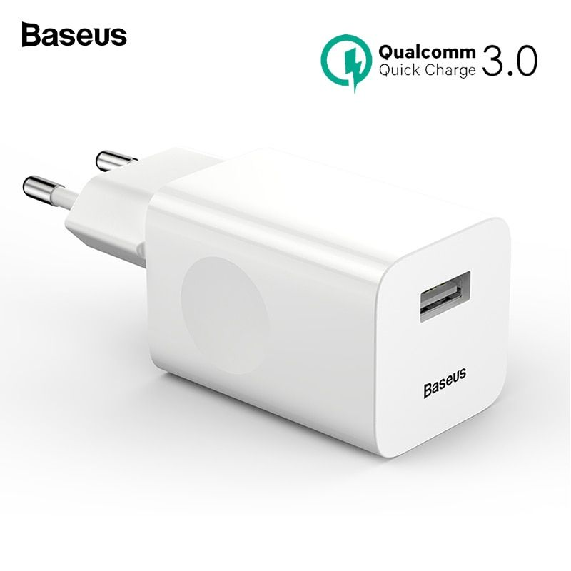 Baseus 24W Quick Charge 3.0 USB Charger QC3.0 Travel Wall Mobile Phone Charger for iPhone X Samsung Xiaomi mix3 iPad EU US Plug