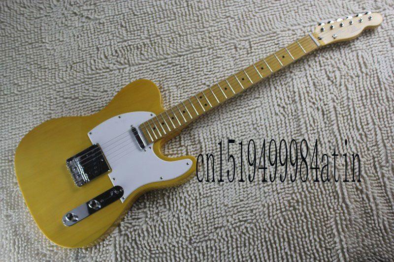 Free shipping Telecaster Electric Guitar Custom Color Monaco Yellow OHSC guitar @22