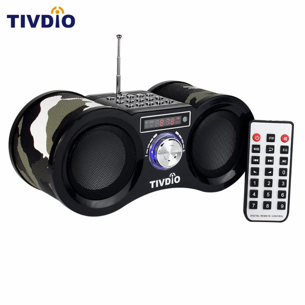 TIVDIO V-113 Camouflage Stereo Digital FM Radio USB/TF Card Speaker MP3 Music <font><b>Player</b></font> With Remote Control Receiver Radio F9203M