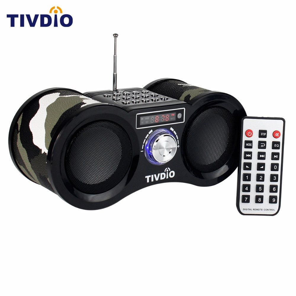TIVDIO V-113 Camouflage Stereo Digital FM Radio USB/TF Card With <font><b>Speaker</b></font> MP3 Music Player With Remote Control Receiver Radio