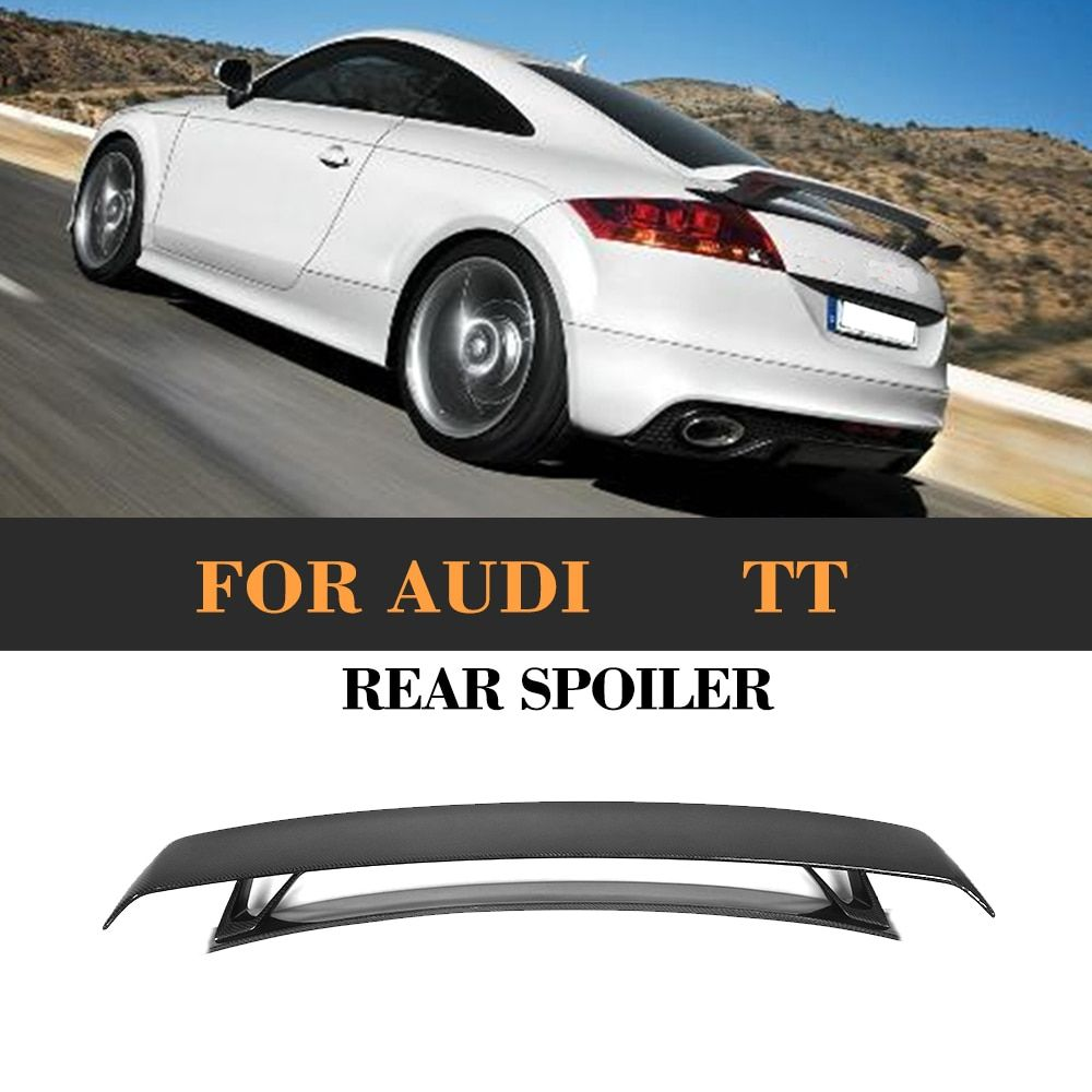 Carbon Fibre Car Rear Trunk Spoiler Lip Wing for Audi TT MK2 8J TTS Coupe 2 Door Only 08-14 Quattro Convertible Black FRP