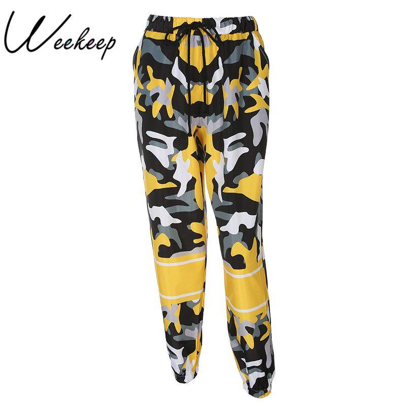 Weekeep Fashion High Waist Women's Camo Pants Loose Streetwear Camouflage <font><b>Pantalon</b></font> Femme Pencil Pants Hip Hop Joggers Trousers