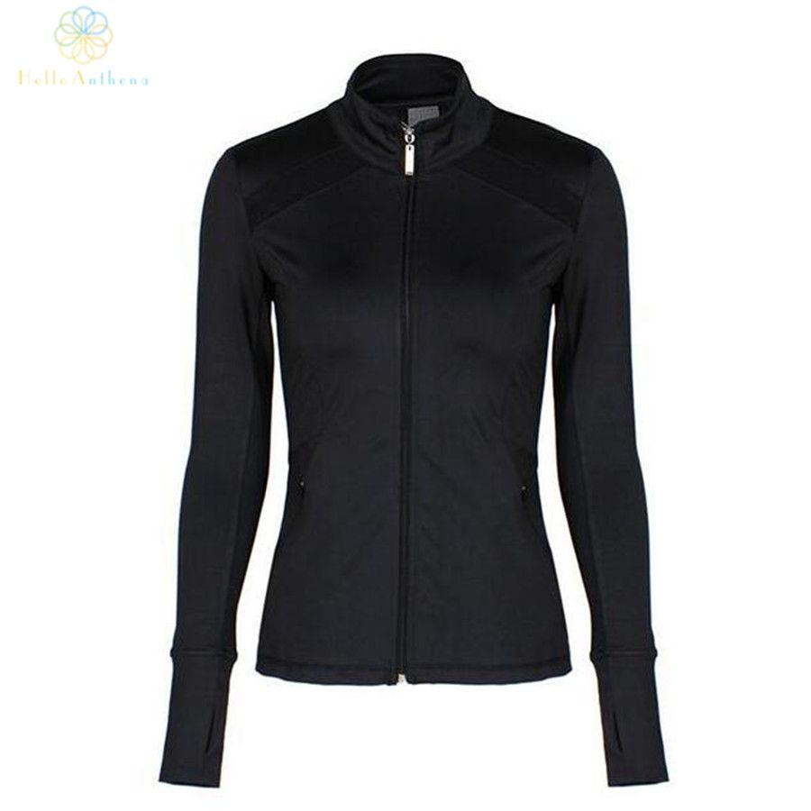 Hello Anthena Women's Full Zipper Black Running Jacket Coat Visible Stripe Slim Outerwear Sexy Backless Sports Yoga Fitness