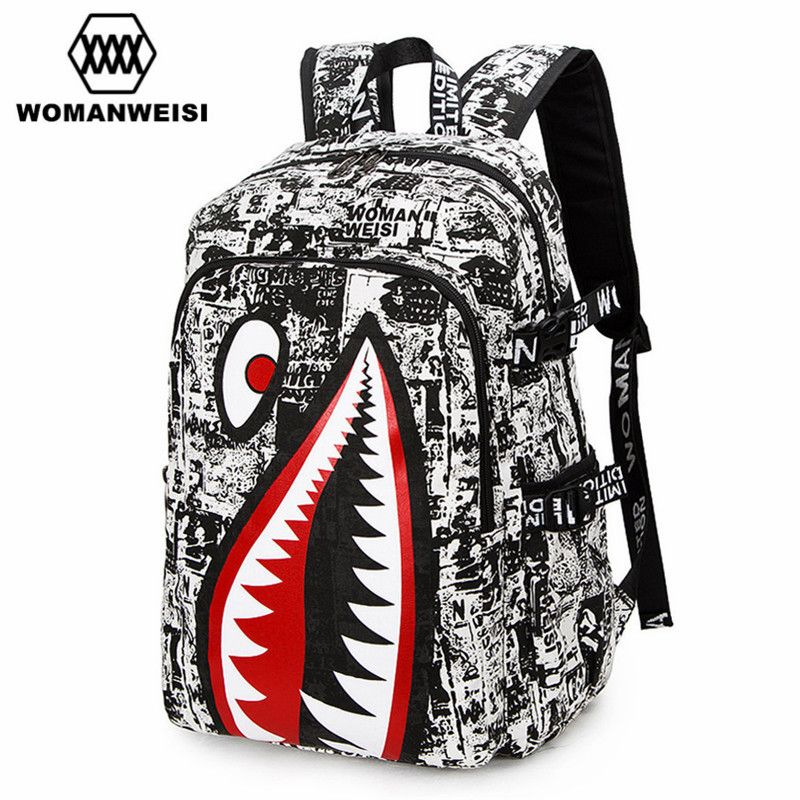 2018 Vintage Graffiti Anime Shark Printing Backpack Brand Designer Backpack For Teenage Boy Girl Women Men School Bags zaino