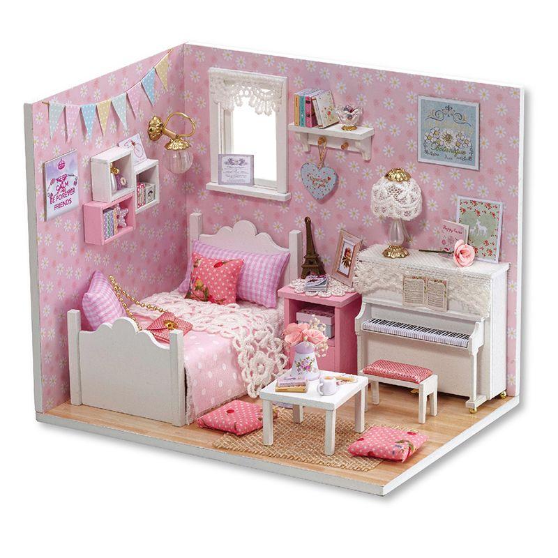 Maison de poupée Meubles Diy Miniature Poussière Couverture 3D En Bois Miniaturas Dollhouse Jouets pour Noël-H015