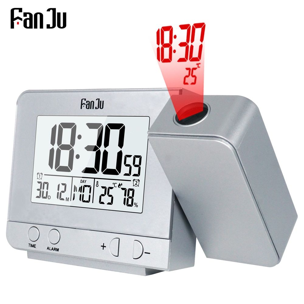 FanJu FJ3531 réveil de Projection numérique Date Snooze fonction rétroéclairage projecteur Table de bureau horloge LED avec Projection de temps