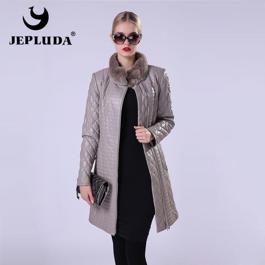 JEPLUDA Leather Jacket Women Natural Sheepskin Genuine Leather Jacket Women With Collar of Rex Rabbit Fur Women's Leather Coat
