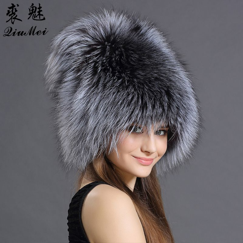 QiuMei Bomber Hats Women Real Fox Raccoon Fur Bombers Hat Solid Russian Winter Trapper Hats Caps Genuine Natural Fox Fur Bombers