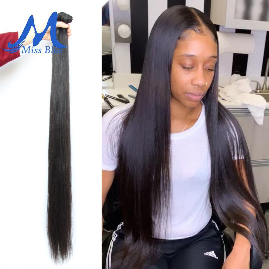 Missblue 8-34 36 38 40 pouces cheveux brésiliens armure faisceaux droite 100% cheveux humains 3/4 faisceaux couleur naturelle Remy Extensions de cheveux