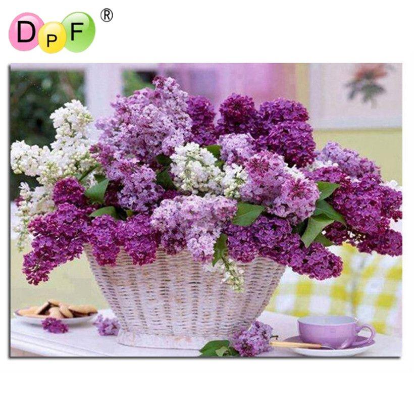 Diamant peinture point de croix violet fleur paniers mosaïque & diamant broderie & carré motif complet strass kits pour couture