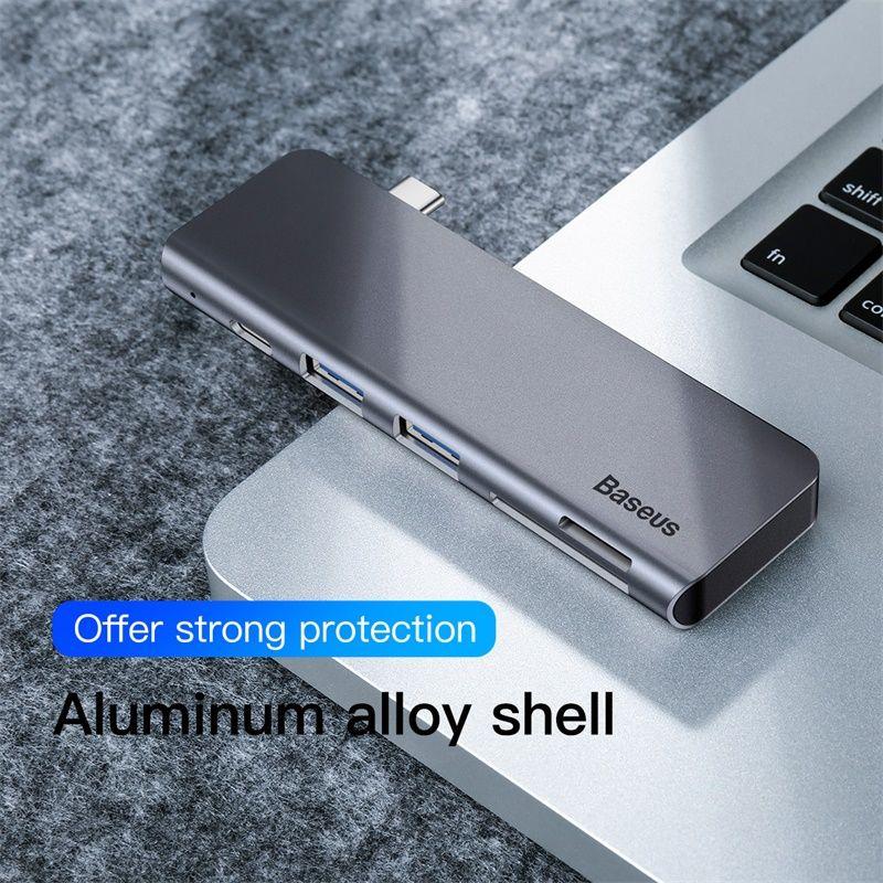 Adaptateur de moyeu Baseus gris 5 en 1 USB Type C vers USB 3.0*2/SD/TF pour accessoire d'ordinateur Macbook Pro avec alimentation PD de Type C