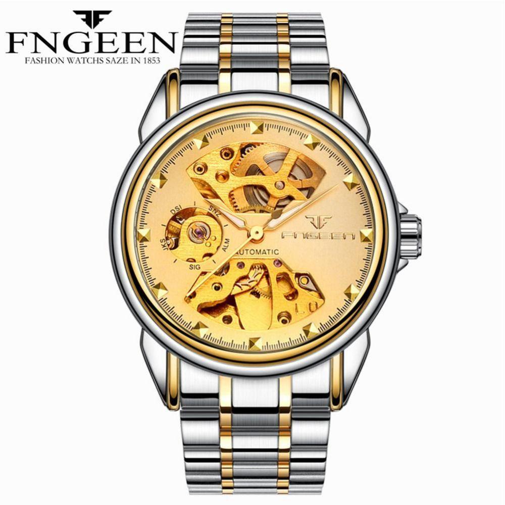 Автоматические механические наручные часы men'swaterproof бизнес из нержавеющей стали часы женщина кожаный ремешок Механические полые часы