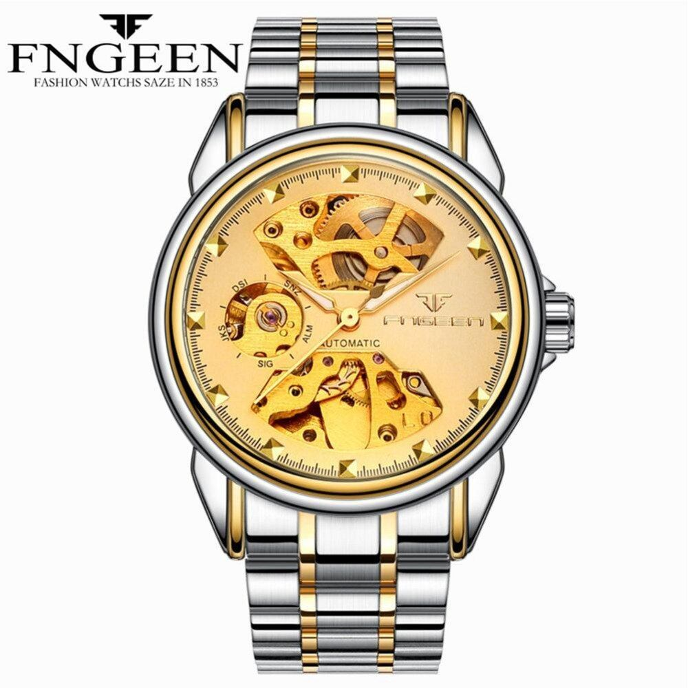 Automatic mechanical WristWatch Men'swaterproof business stainless steel watches Woman Leather strap mechanical Hollow Clock