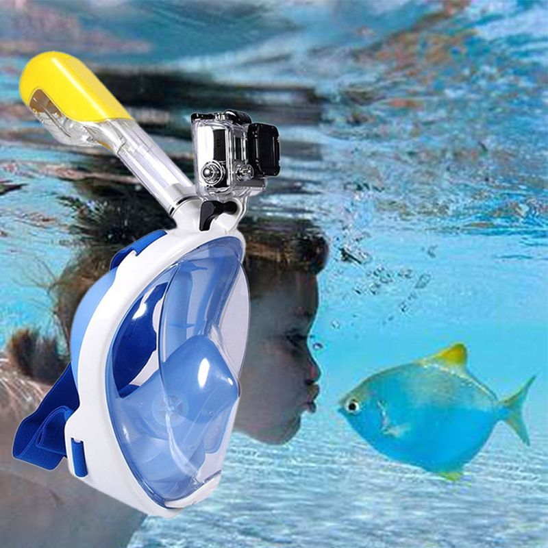Swimming Diving Snorkeling Full Face Mask Surface Scuba for Gopro  ( Child  type )   S/M
