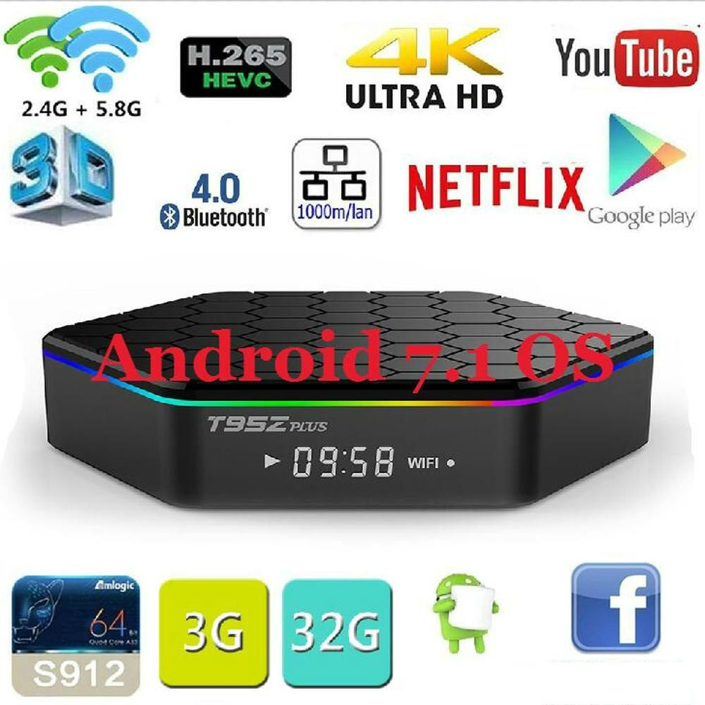 Original T95Z plus Android 7.1 TV BOX T95Z Plus Amlogic S912 Set Top box OctaCore 2GB/3GB 16GB/32GB Dual WiFi Smart media Player