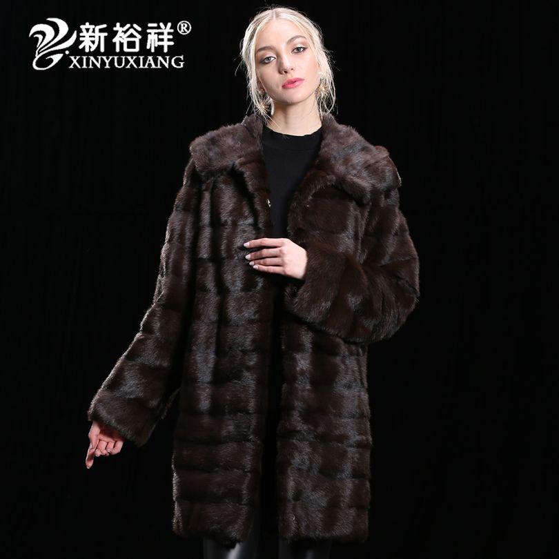 2018 luxus 100% Echt Nerz pelzmantel Frauen Winter Echtem Leder Kleidung Starke lange warme Natürliche echtpelz Jacken Anpassen 19NO
