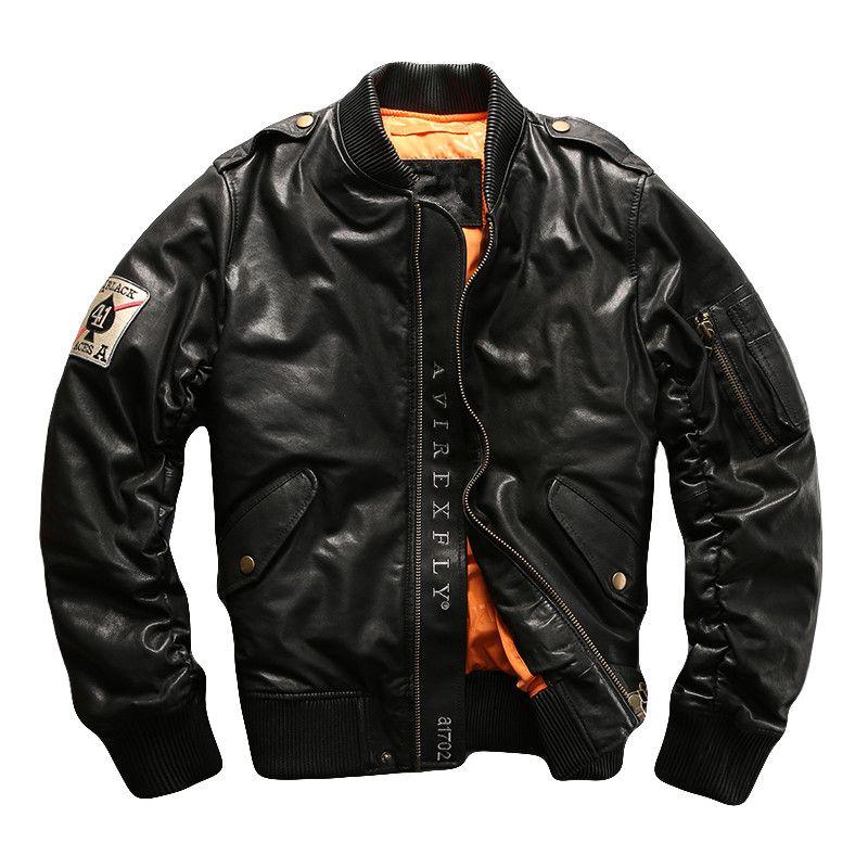HARLEY ZWETSCHGE Schwarz Männer Pilot Leder Unten Jacke Plus Größe 5XL Winter Dicke Echt Schaffell Russische Aviator Leder Mantel