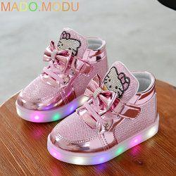 Gatos KT niño zapatillas 2018 nueva marca Rhinestone calzado kids LED parpadeante arranque para bebés zapatos casuales con luz