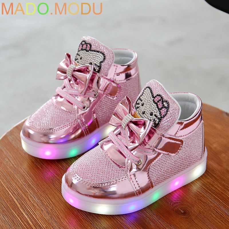 KT Cats 2016 New Brand Child Luminous Sneakers Rhinestone Kids LED Flashing Boot girls Casual Shoes with lights size 21~30