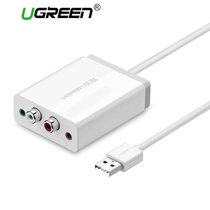 Ugreen 2 RCA USB Sound Card Audio Interface 3.5mm USB Adapter to <font><b>Speaker</b></font> Microphone for Laptop Computer External Sound Card