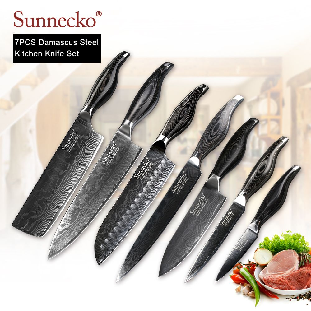 SUNNECKO 7PCS Kitchen Knives Set Utility Chef Cleaver Knife Damascus VG10 Steel Sharp Blade Cutting Tools Pakka Wood Handle Gift