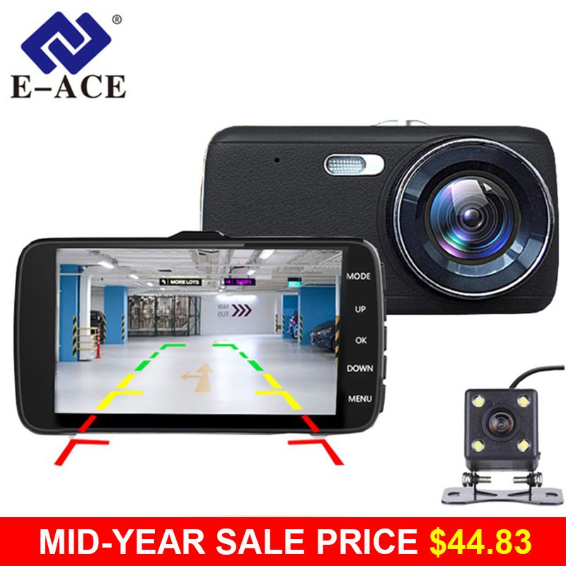 E-ACE Car DVR Camera Dashcam Dual Lens With LDWS ADAS Rearview Mirror Car Distance Warning FHD 1080P Night Vision Automobile