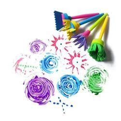 4 Pcs/ensemble Tourner Rotation Éponge Pinceau Enfants Enfants Fleur Graffiti Art Dessin Peinture Jouets Outil École Papeterie Fournitures