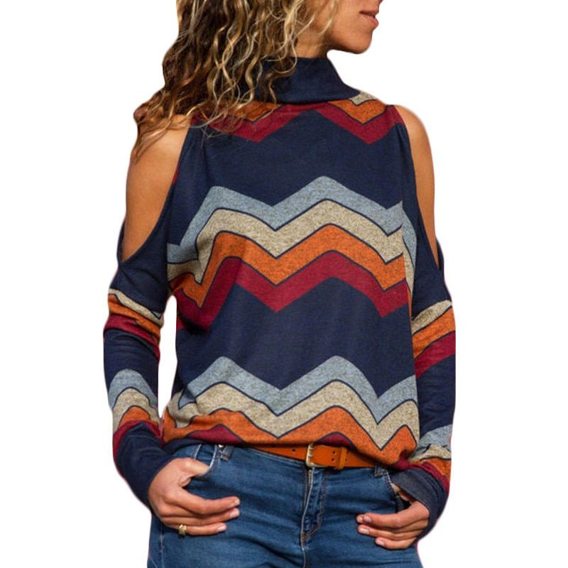 Women Blouses Sexy Cold Shoulder Tops Casual Turtleneck Knitted Top Jumper Pullover Print Long Sleeve Shirt Blusas Camisas Mujer