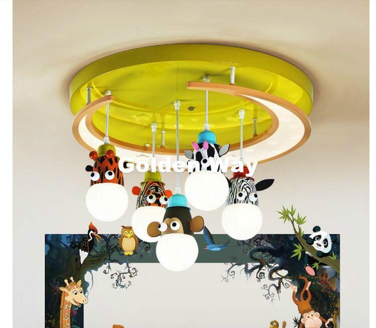 Kostenloser Versand Cartoon Tiere Stil Kinder deckenleuchten Kinder Schlafzimmer E27 AC ferngesteuerte Enthalten Kinderzimmer Deckenleuchte