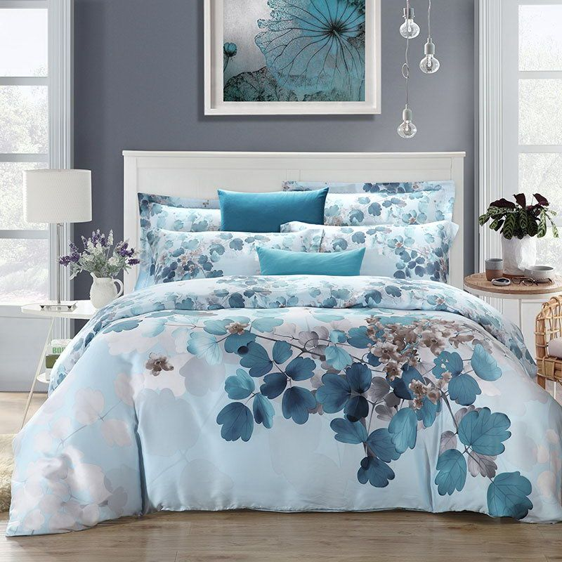 super soft watercolor polyester bedding set king queen size Doona duvet cover bedsheet Pillowcase 4pcs bed sets
