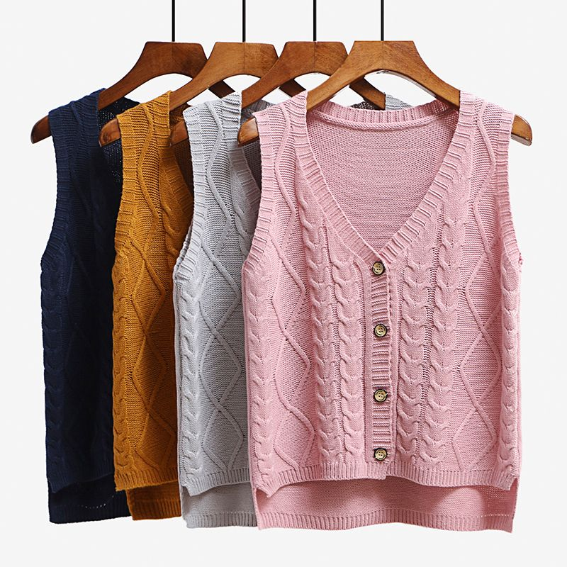 Women sleeveless knitting sweater vest pullover Autumn basic waistcoat vest for women Knitted vests with button