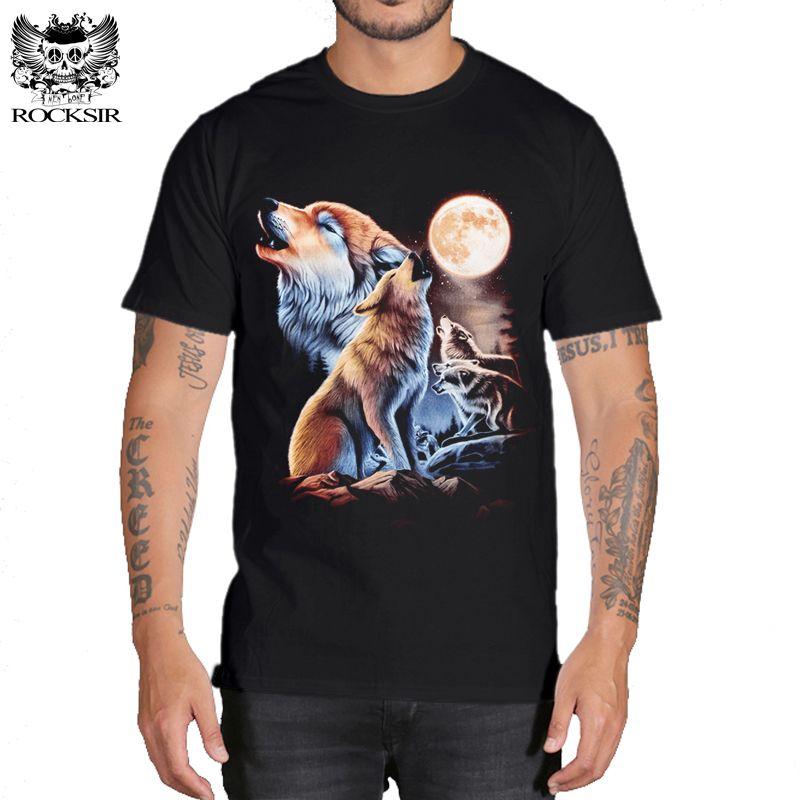 Rocksir 3d wolf t-shirt hommes marque 3D Wolf imprimer t-shirt d'été à manches courtes dessus de chemise grande taille coton t-shirts hauts