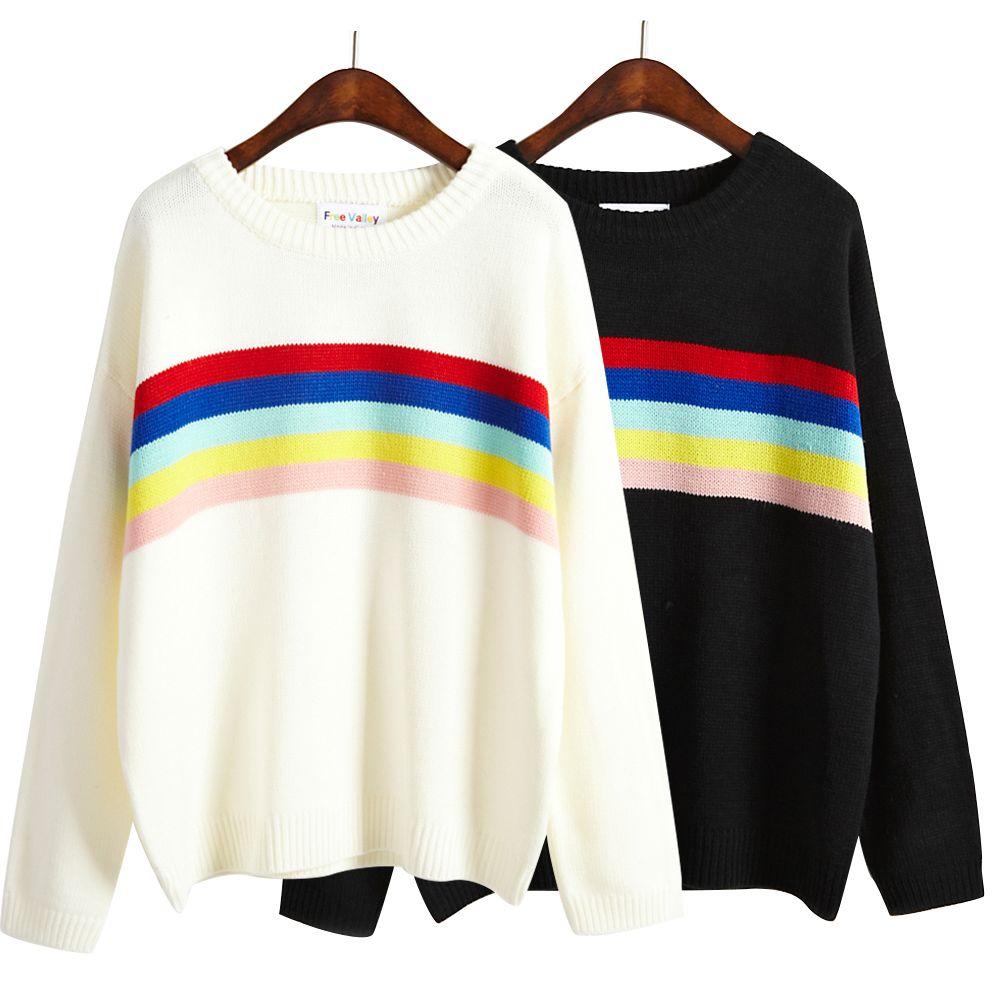Women Harajuku Cute Multicolour Stripe Basic Pullover Sweater Female Kawaii Korean Knitted Thick Loose Jumper